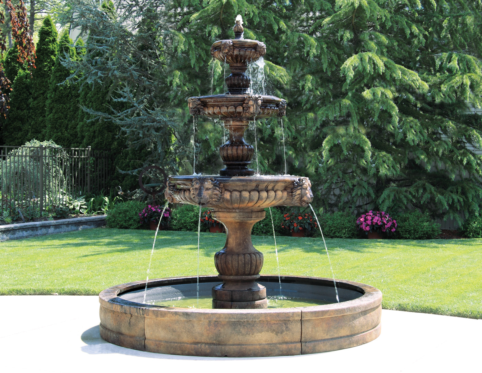 Three Tier Grandessa Fountain With Surround And 8