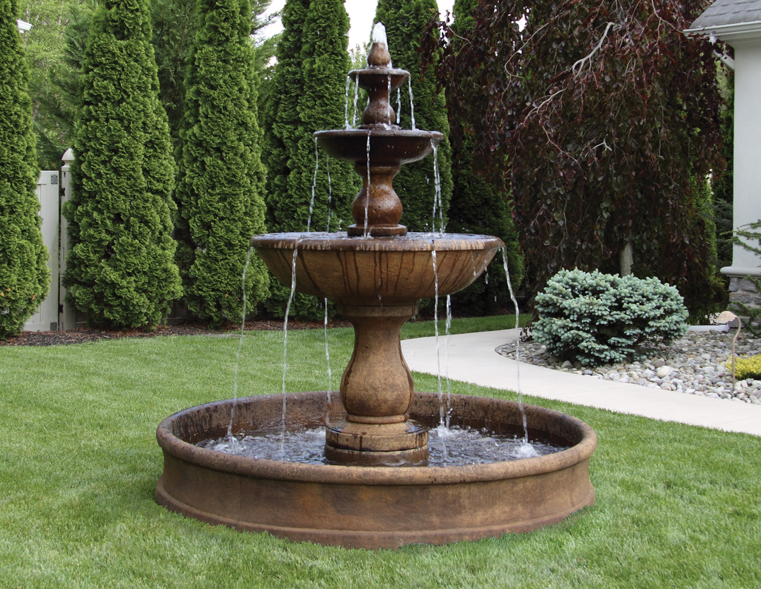 78 three tier boca round fountain on 6 39 pool massarelli 39 s for Garden pool fountains
