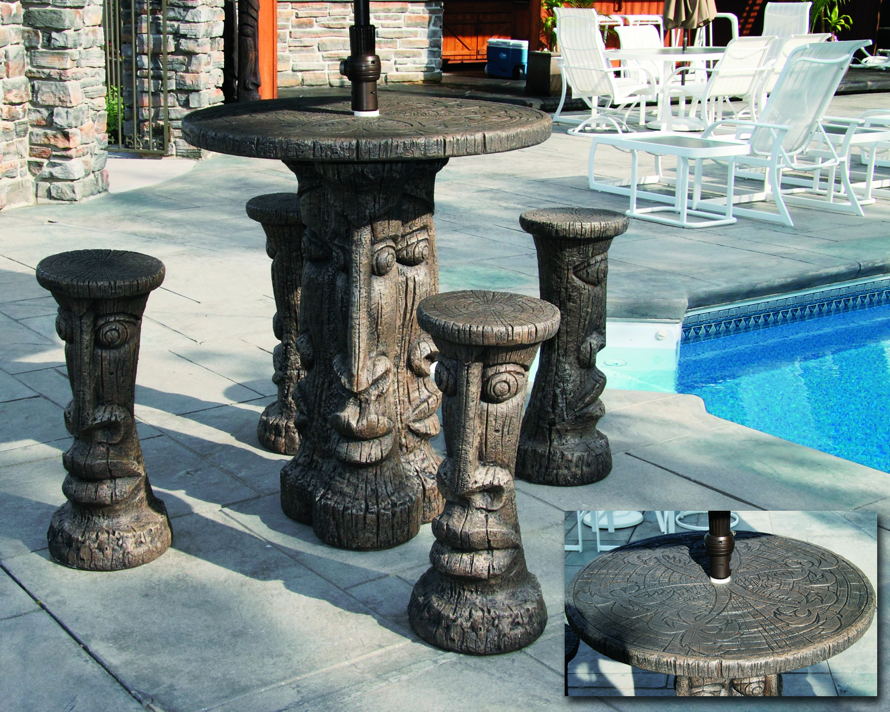 Tiki Table Set Bar Height Massarelli S