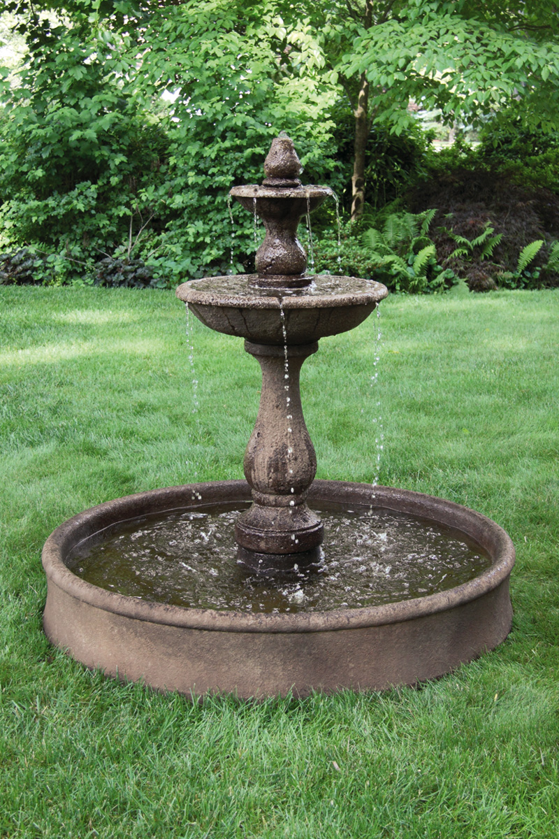 Pool Tile Water Fountain : Two tier boca round fountain on pool massarelli s